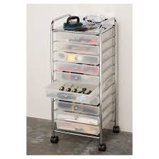 Seville Classics 10 Drawer Organizer Cart Frosted White Tar