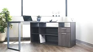bestar solay bark gray l shape desk with file and bookcase en