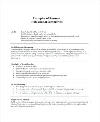 Resume Example Summary For Samples Sample Of Qualifications