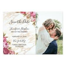 Chic Pink Floral Gold Marble Save the Dates Card