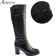 online get cheap women knee high leather boots aliexpress com