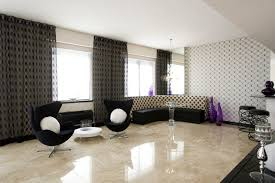 Italian Marble Flooring With Unique Black Chair For Modern Living Room Decoration