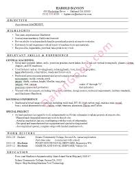 Harolds Resume Sample For A Machinist