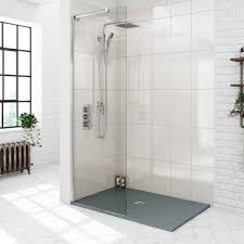 Mode 8mm Walk In Shower Glass Screen With Grey Slate Effect Tray