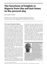 Trace The Origin Of English Language In Nigeria
