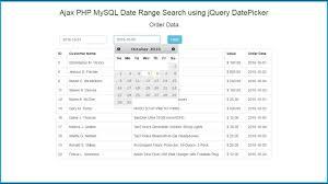 Ajax PHP MySQL Date Range Search using jQuery DatePicker