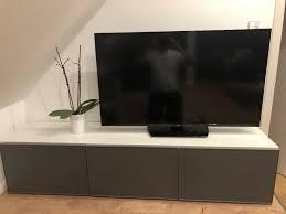 ikea besta möbel wohnzimmer lowboard tv möbel grau weiß board