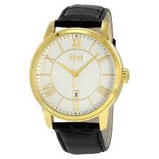 Hugo Boss Classico Silver Dial Black Leather Strap Men's Watch 1512972