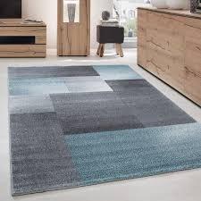 teppich modern designer kurzflor wohnzimmer karo block muster grau blau weiß größe 80x150 cm