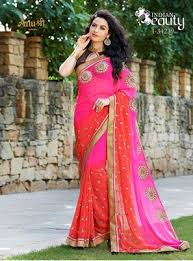 White Moti Handwork Georgette Sarees With Blouse Piece