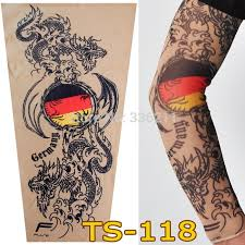 TS 118 2018 Elastic Fake Temporary Tattoo Sleeve Germany Dragon Design Arm Stockings Tatoo Cool Men Women Retail Free Shipping In Tattoos From