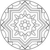 Easy Mandala With Stars Coloring Page