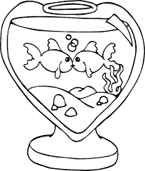 Kissing Fish In Heart Shaped Tank Coloring Pages