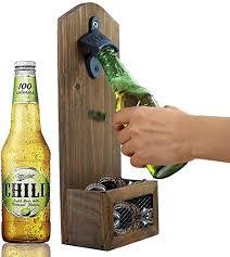 ahdecor flaschenöffner zur wandmontage bierkappenöffner mit kronkorkenauffangbehälter aus vintage holz für bar küche terrasse wohnzimmer deko
