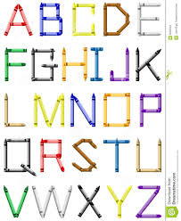 Crayon Alphabet English Characters Stock Vector Illustration Of