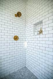 tile shower floor shower with white subway tiles and gray marble