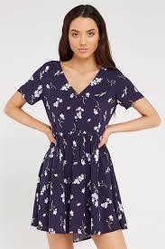 button up tea dress factorie scattered floral evening blue