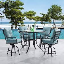 Hanover LAVDN5PCBR-BLU Lavallette 5-Piece Counter-Height Ocean Blue With 4  Swivel Chairs And A 52-in. Round Glass-Top Table Outdoor Dining Set Phi Villa Height Swivel Bar Stools With Arms Patio Winsome Stacking Chairs Awesome Space Heater Hinreisend Fniture Table Freedom Outdoor 51 High Ding 5 Piece Set Accsories Ashley Homestore Hanover Montclair 5piece Highding In Country Cork With 4 And A 33in Counterheight Tall Ideas Get The Right For Trex Premium Sets Shop At The Store Top 30 Fine And Counter