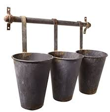 Rustic Tin Pots Galvanized 3 Hanging Wall Flower Holder Planter Pot Vase Cup Baskets Set On