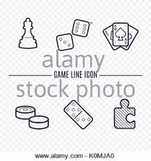 Games Linear Icons Chess Dice Cards Checkers And Other Board