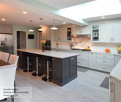 light grey kitchen with grey island cabinets omega