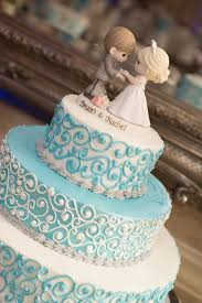 Tiffany Blue Wedding Cake With Precious Moments Topper David Humphreys Photography