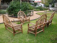 Rustic Outdoor Furniture Two Chairs And Loveseat Country Style Wooden On Grass