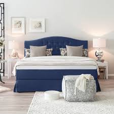 home24 maison belfort boxspringbett la chatre 180x200 cm webstoff dunkelblau mit matratze topper