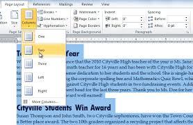 Adding Columns In Microsoft Word 2010