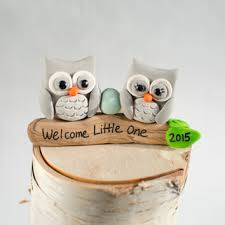 Owl Figurine Cake Topper For Expectant Parents Family Keepsake Polymer Clay