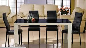 Beautiful Dining Furniture Black Glass Top Table And Upholstered Chairs Tables With Candles Centerpieces