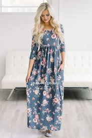 navy gray floral modest maxi dress modest dress for nursing