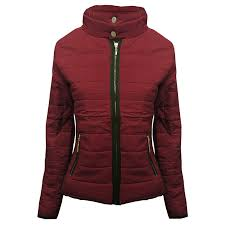 ladies quilted padded jacket roll up collar warm thick womens