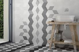 triangular ceramic floor tile for bathroom with gray black colors