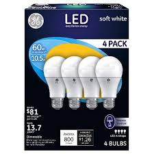 Ge Artificial Christmas Tree Replacement Bulbs by Ge Led 10 5 Watt A19 Soft White Bulb 60 Watt Equivalent 4 Pack