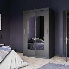 selsey kleiderschrank vaniva mit spiegel und schiebetüren in schwarz matt 120 cm