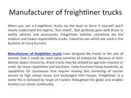 100 Used Freightliner Trucks PPT Manufacturer Of Freightliner Trucks PowerPoint