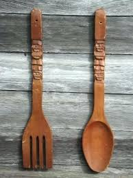 Fork Spoon Wall Art Large Wooden Decor Retro Kitchen Big Carved