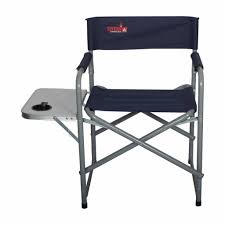 TOTAI Outdoor Director's Camping Chair With Side Table, Navy Blue, Steel