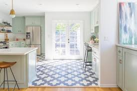 mint green kitchen with blue moroccan tile floor contemporary
