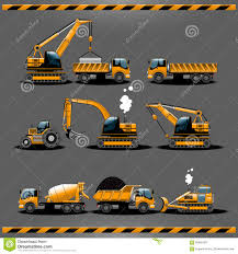 Construction Cars Vector Icon Set Stock Vector - Illustration Of ...