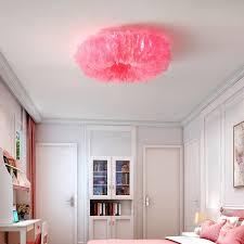 großhandel nordic schlafzimmer moderne minimalistische raumle warme romantische beleuchtung netz rot deckenleuchte mädchen feder le leuchten