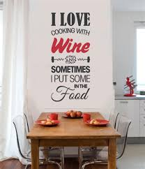 I Love Cooking With Wine Kitchen Decor Vinyl Decal Wall Stickers Letters Words