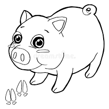 Download Pig With Paw Print Coloring Pages Vector Stock