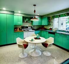 Kitchen Design Minimalist Vintage 50s Decor With Turquoise Cabinet And Large Indows Also
