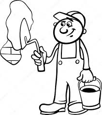 Black and White Cartoon Illustration of Man Worker or Workman with Trowel Plaster Brick Wall for Children to Coloring Book — Vector by izakowski