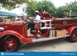 100 Antique Fire Truck A Chief Drives A Editorial Photography