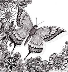 Butterflies Floers For Adults Free Coloring Pages