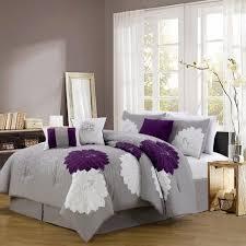 7 Piece Queen Provence Embroidered Comforter Set Bedroom Ideas PurplePurple