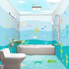 3d sea view fisch wandbild tapete badezimmer pvc selbst klebstoff wasserdicht hintergrund wand aufkleber moderne einfache wand papiere